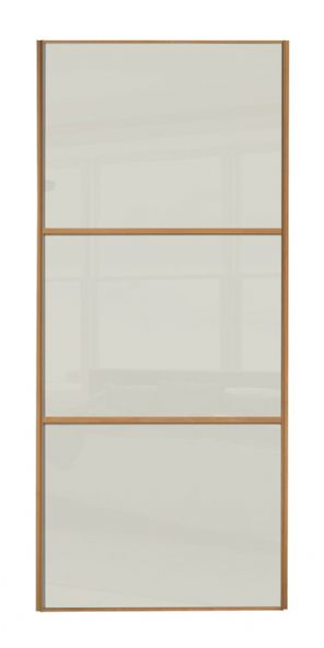 Wideline sliding wardrobe door, Beech frame/ Soft white glass